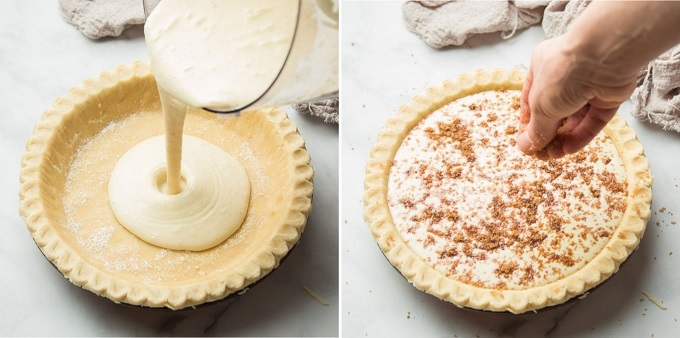 Two Images Showing Steps for Assembling a Vegan Custard Pie: Pour Filling into Crust, and Sprinkle with Brown Sugar