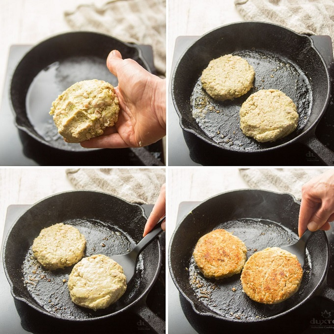 Collage Showing 4 Stages of Cooking Pesto White Bean Burgers
