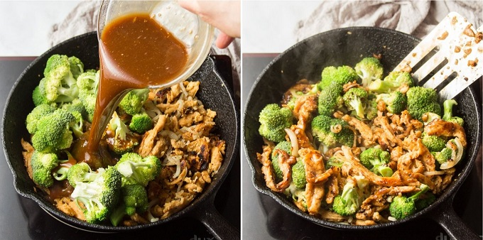 Side By Side Images Showing Final Steps for Stir-Frying Vegan Beef & Broccoli: Add Sauce, and Stir-fry Until Thickend