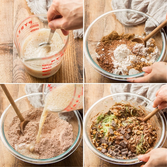 Collage Showing Steps for Mixing Vegan Chocolate Zucchini Muffin Batter: Mix Wet Ingredients, Mix Dry Ingredients, Mix Wet and Dry Ingredients, and Fold in Zucchini, Chocolate Chips and Nuts