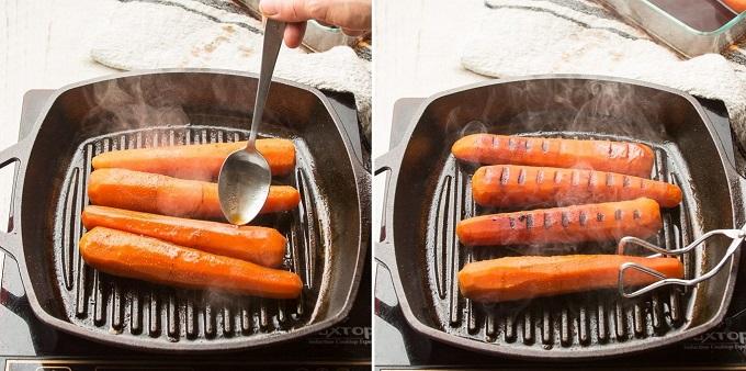 Side By Side Images Showing Two Stages of Grilling Carrot Dogs