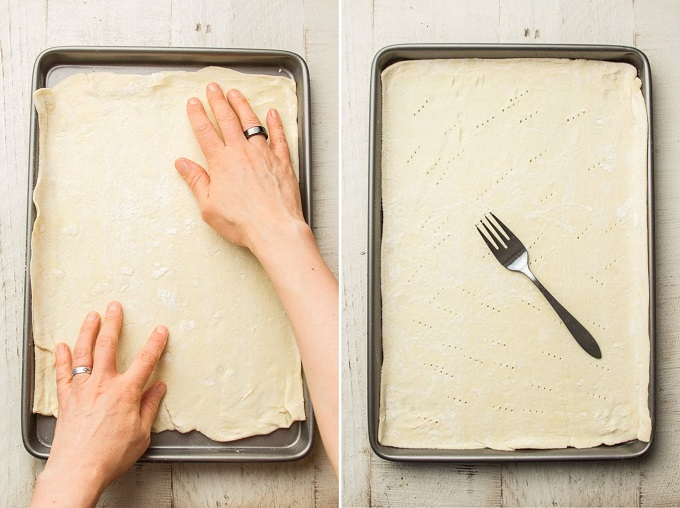 Side By Side Images Showing (1) Hands Arranging Puff Pastry on a Baking Sheet, and (2) Puff Pastry on Baking Sheet with Holes Poked in it and a Fork on Top