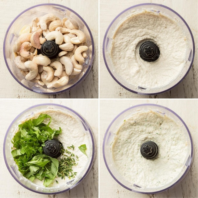 Collage Showing Four Stages of Making Cashew Cheese: Place Cashews in Food Processor, Blend, Add Herbs, and Blend To Chop Herbs