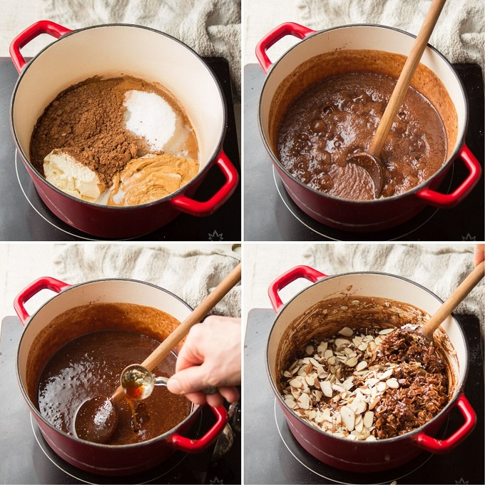 Collage Showing Steps for Making Vegan No-Bake Cookie Dough: Add Ingredients to Pot, Simmer, Add Vanilla, and Add Oats and Stir-Ins