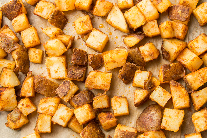 Spicy Potatoes on a Baking Sheet