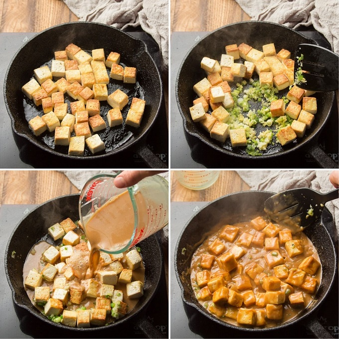Collage Showing Steps for Cooking Sweet & Sticky Coconut Tofu: Pan-Fry Tofu, Add Aromatics, Add Sauce, and Simmer