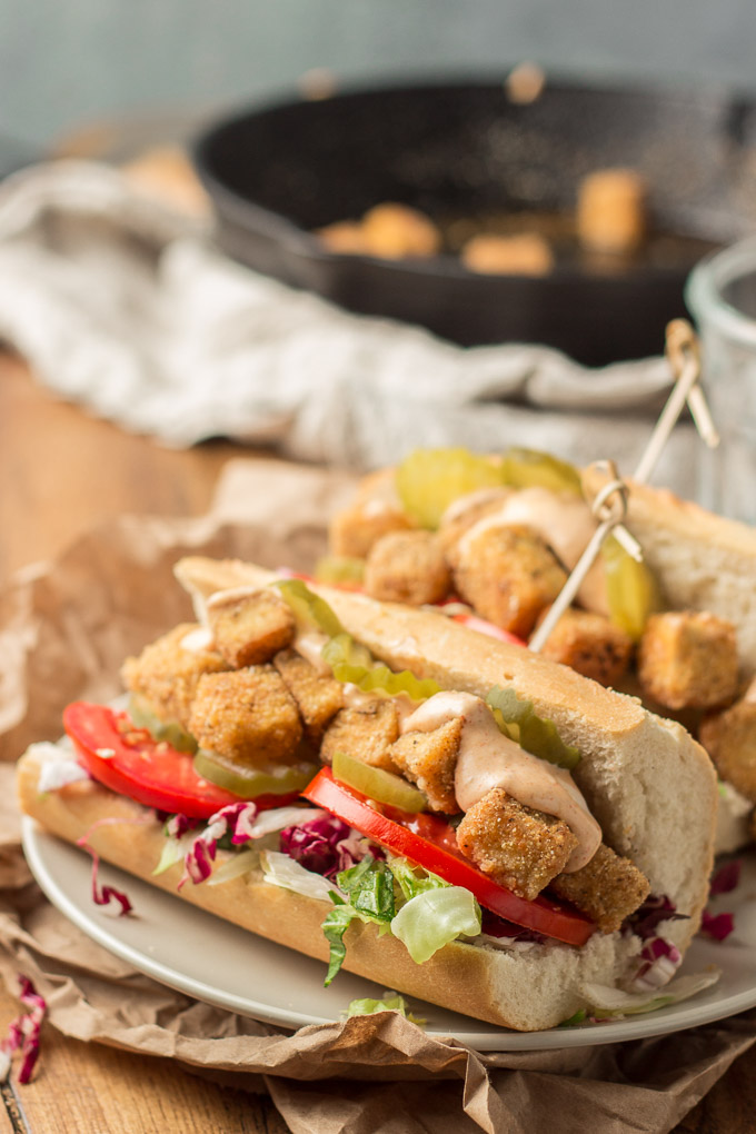 Vegan Vegan 'Po Boy Sandwich on a Plate with Skillet in the Background