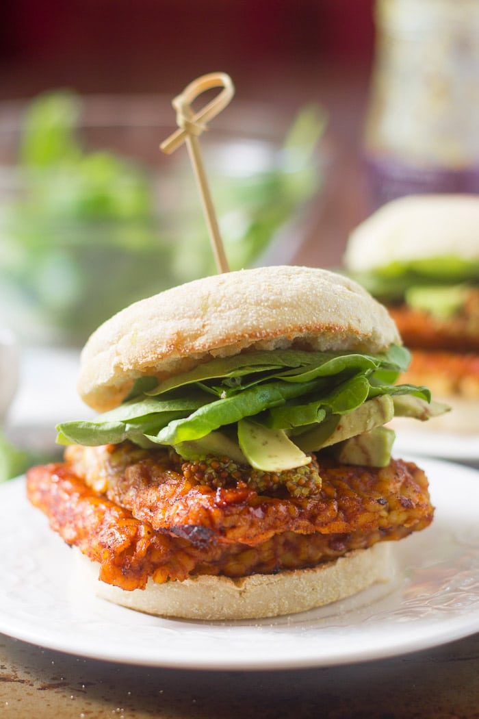 Savory Tempeh Breakfast Sandwich on a Plate