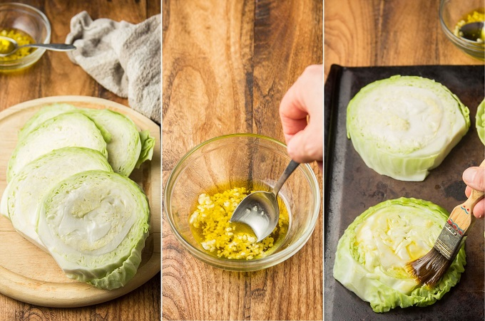 Collage Showing Steps for Making Cabbage Steaks: Slice Cabbage, Mix Oil and Garlic, and Brush Cabbage Slices with Oil