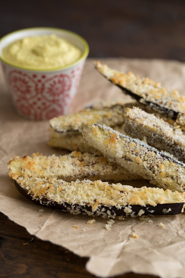 Panko-Crusted Baked Eggplant Fries with Curried Cashew Aioli