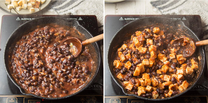 Side By Side Images Showing Steps 5 and 6 for Making Vegan Burrito Bowls: Simmer and Add Tofu