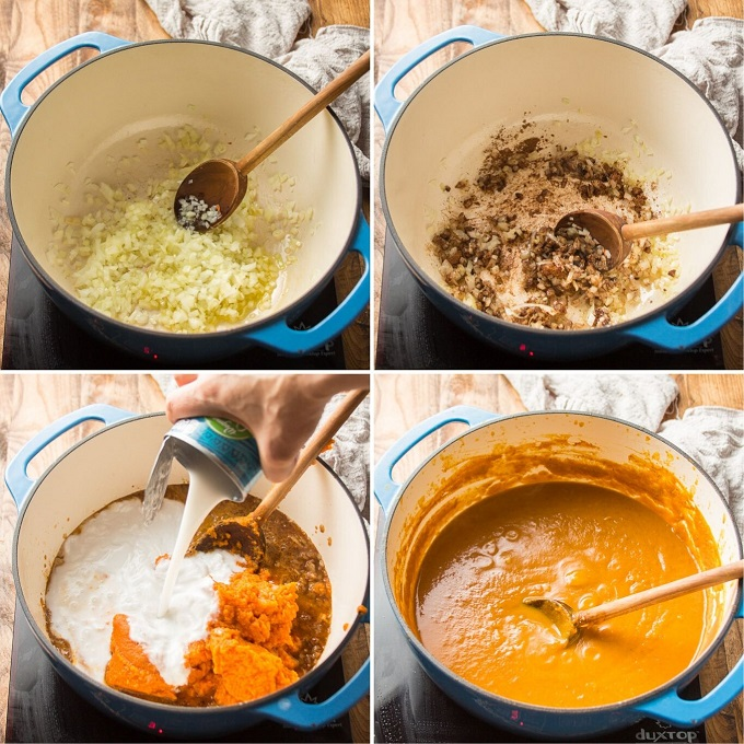 Collage Showing Steps for Making Vegan Pumpkin Soup: Cook Onions, Add Spices, Add Pumpkin, Broth, and Coconut Milk, and Simmer