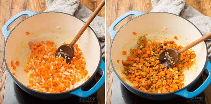 Two Images Showing Steps for Making Mulligatawny Soup: Sweat Veggies, and Add Spices