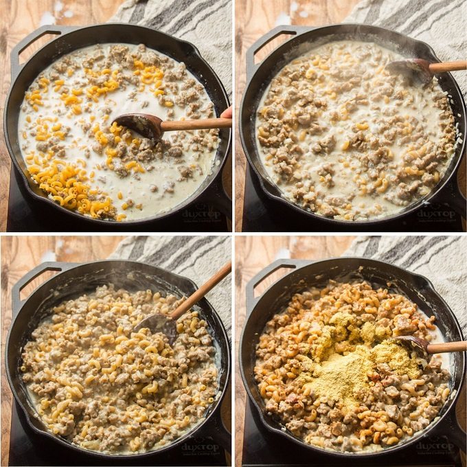 Collage Showing Steps 5-8 for Making Vegan Hamburger Helper: Add Pasta, Simmer, Continue Simmering Until Pasta Cooks, and Stir in Seasonings