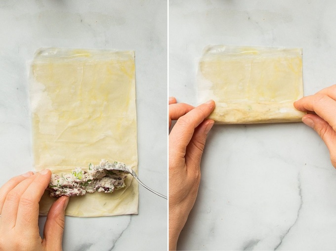 Collage Showing 2 Steps of Filling Phyllo Cigars: Spoon Filling on Phyllo, and Roll