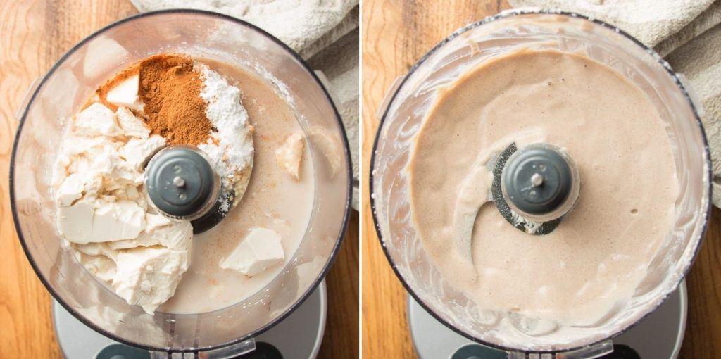 Side By Side Images Showing Ingredients for Vegan Pecan Pie Filling in a Food Processor Bowl Before and After Blending