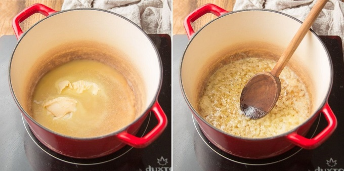 Side By Side Images Showing Steps 1 and 2 for Making Vegan Gravy: Melt Butter in Pot, and Sweat Onions