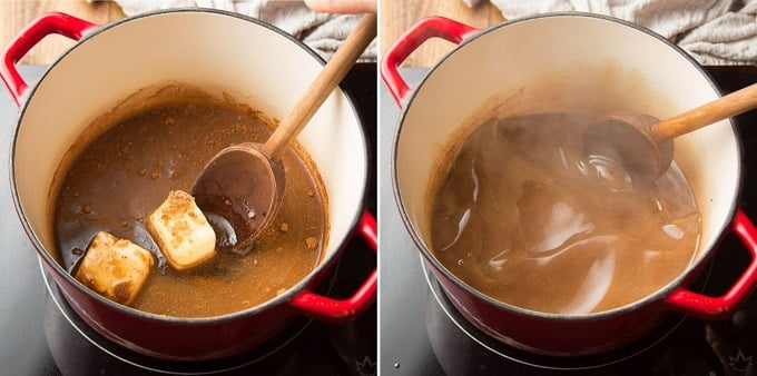 Two Images Showing First Steps for Making Vegan Candied Yams: Combine Sauce Ingredients in a Pot and Simmer