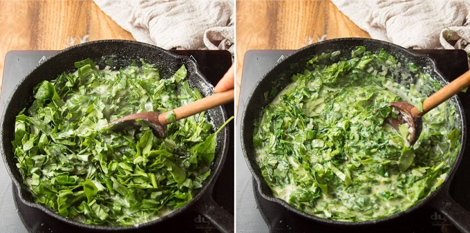 Side By Side Images Showing 2 Stages of Vegan Creamed Spinach Simmering in a Skillet