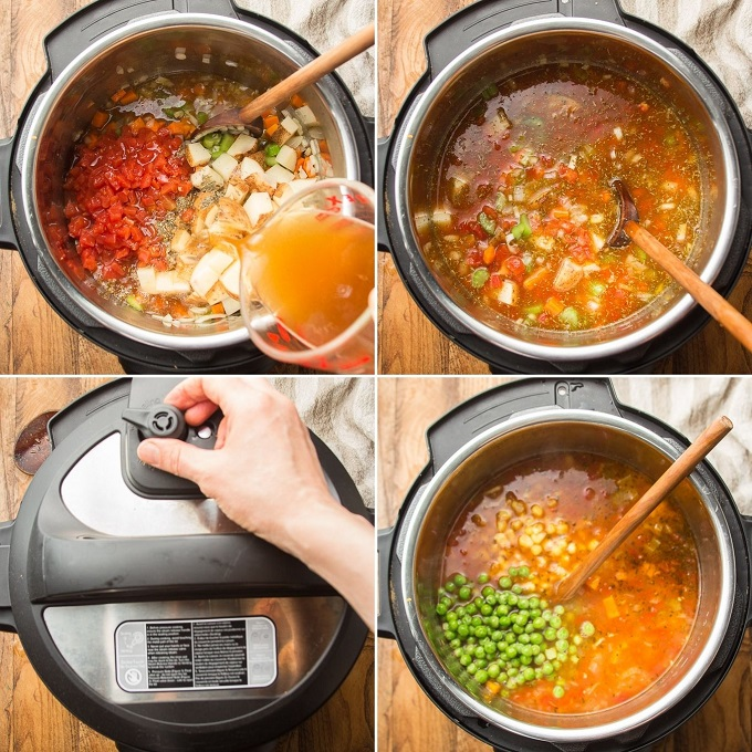 Photos Showing Last 4 Steps for Making Instant Pot Vegetable Soup: Add Broth and Veggies, Stir in Spices, Pressure Cook, and Add Peas and Beans