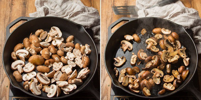 Two Images Showing Two Stages of Mushrooms Cooking in a Skillet