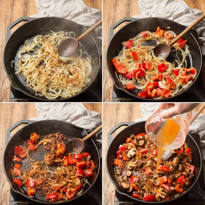 Collage Showing Four Steps of Cooking Vegan Mushroom Paprikash: Cook Onions, Add Peppers, Add Garlic and Spices, and Add Broth