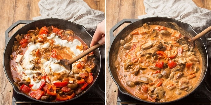 Two Images Showing Two Stages of Stirring Cashew Cream into a Skillet of Vegan Mushroom Paprikash