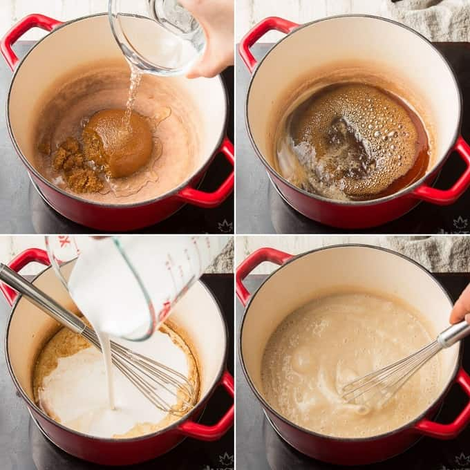 Collage Showing First Four Steps for Making Vegan Butterscotch Pudding: Mix Brown Sugar and Water in Pot, Simmer, Add Non-Dairy Milk and Cornstarch, and Simmer Again