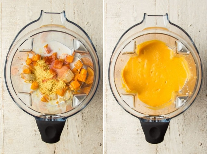 Two Images Showing Ingredients for Butternut Squash Sauce in a Blender Before and After Blending