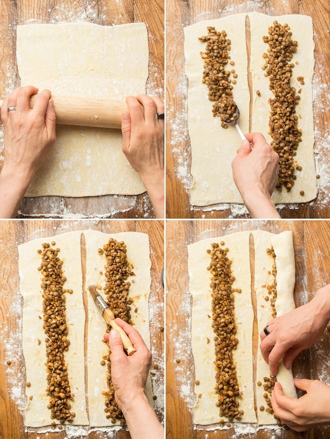Collage Showing First Four Steps for Making Vegan Sausage Rolls: Roll Puff Pastry, Add Filling, Moisten Edge, and Roll