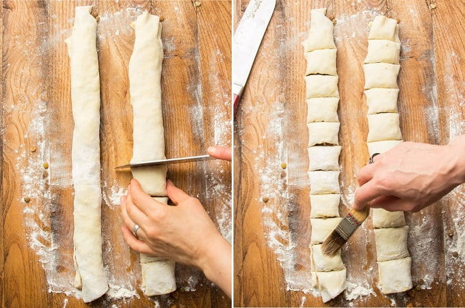 Two Images Showing Final Steps for Assembling Vegan Sausage Rolls: Slice and Brush with Non-Dairy Milk