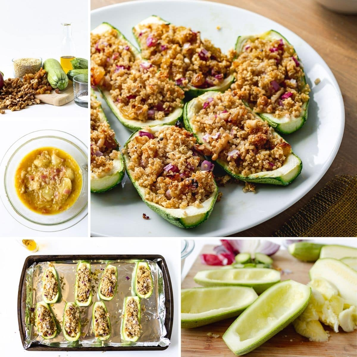 collage of the process in making this zucchini recipe