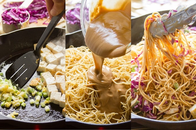Collage Showing Steps for Making Sesame Peanut Noodles: Sauté Aromatics, Add Noodles and Sauce, Heat and Add Cabbage