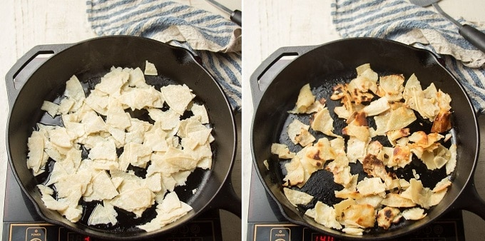Collage Showing Two Stages of Frying Tortilla Strips for Vegan Migas